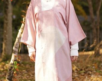 Apple blossom pink Michiyuki, Japanese kimono, womens haori