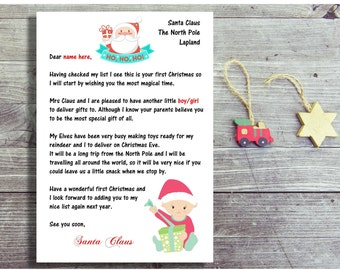Baby's First Christmas Santa Letter, Father Christmas Letter For New Baby, First Christmas Letter