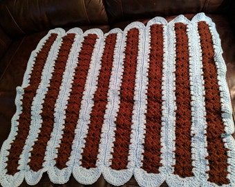Blue and Brown Baby Afghan, Handmade Crochet