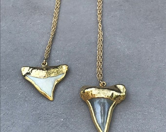 Fine gold filled and shark pendant chain necklace KEANI collection