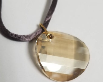 """Gold Filled 18"""" Necklace with 28mm Swarovski® Crystal Golden Shadow Twist Pendant  #2143"""
