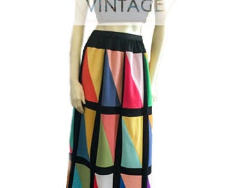 Vintage Retro 1970's Colorful Patchwork Maxi Skirt, 29 waist, Small, size 8