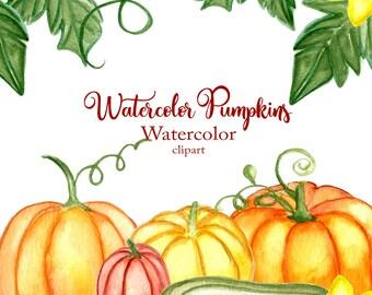 Watercolor Pumpkin Clipart Fall Clip Art Thanksgiving Clipart Watercolor Autumn Harvest Clipart Pumpkin Png Watercolor Clip Art