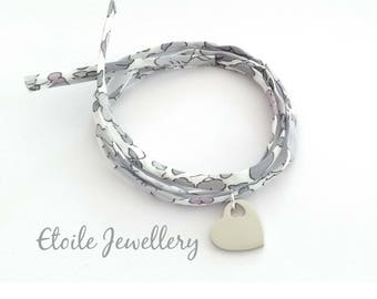Liberty wrap bracelet in pretty summer colours with a silver heart charm