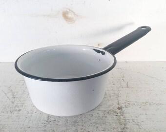 Small White and Black Trimmed Enamelware Sauce Pot/Farmhouse Kitchen Small White Enamleware Sauce Pot/Shabby Chic Enamelware Sauce Pot