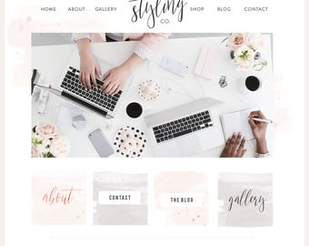 Watercolor Squarespace Template / Logo & Branding Kit / Blog Kit / Rose Gold Boutique / Website Design / Wordpress theme / Photography Site