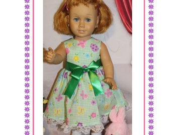 """Chatty Cathy doll not included, Dress with Snaps and Stuffed Easter Bunny.  Dress fits 20"""" vintage toy talking dolls Chatty Cathy size"""
