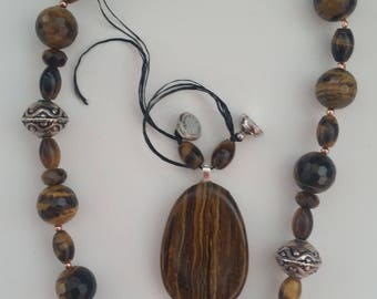 Tiger Iron Pendant /  Tiger Eye Necklace / Worry Stone / Choker /Magnet