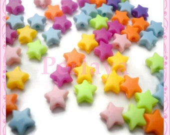 50 mixed beads star acrylic 6mm REF717