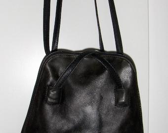 Vintage Scandinavian leather shoulder bag BOXCA DENMARK/90s leather backpack/Boxca retro purse/Minimalist rucksack/Simple travel purse