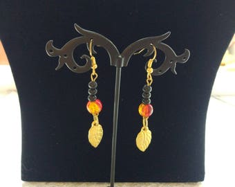 Japanese Black red glass Boho earrings Gypsy Boho style design jewelry woman black dangle earring gold plated leaf charms gift for her wife