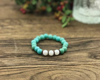 Women's Fashion Turquoise And White Bead Bracelet Modern Stylish 8mm Turquoise Beads Perfect Gift For Her, Under 10, Gift Wrapping Available