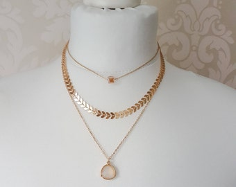 Triple Drop Stacked Necklace