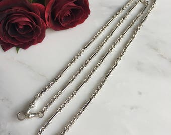 "Vintage Sterling Silver 28"" Watch Fob Chain"