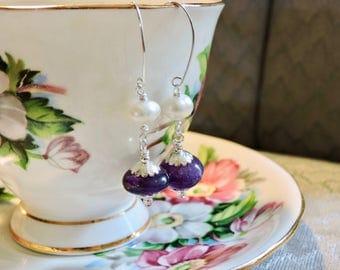 Silver, Amethyst and Pearl Earrings