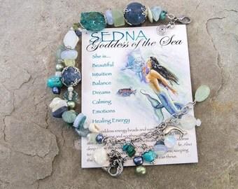 Goddess Sedna Bracelet, Goddess of the Sea, Mermaid, Aquamarine, Chalcedony, Chrysocolla, Pearls, Turquoise,Coral, Dolphin, Healing Crystals