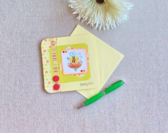 Thinking of you card, bumble bee theme, all occasion cards, bees, bumble bee, cartoon, thinking of you, cartoon, greetings cards, handmade