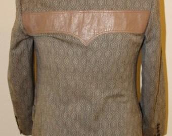 "36 S, Vintage 1970's Italian made suit, Leather yoke on back, pants, 31"" waist"