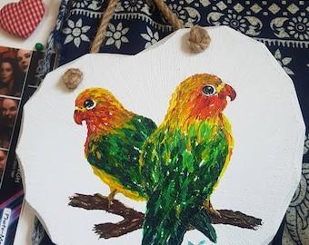 Hand painted Lovebird Heart Wooden Wall hanging