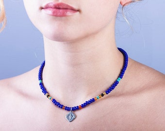 Necklace. Ultramarine blue