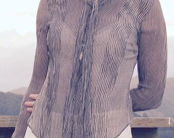 Vintage Silk Pinstripe Blouse