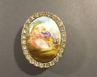 19th Century porcelain and paste button.
