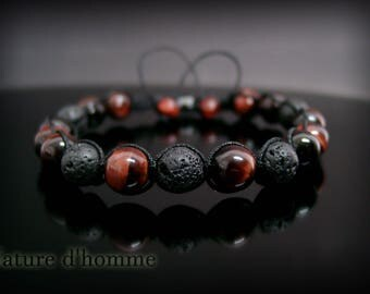 Wrap bracelet with lava stones and more Tiger eye: BN-368