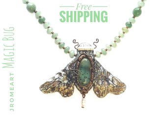 """Necklace Night-fly """"Maurice"""" -- Andean Opal Silver-Green Gift Jewelry **FREE SHIPPING** Magic Bug Collection"""
