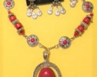 Red Turquoise Pendant Necklace with Mulit-Color Links--Necklace Set