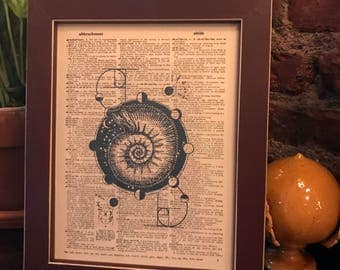 Vintage dictionary print featuring a Nautilus/Snail and the Lunar/Moon Phases! *FREE Shipping!