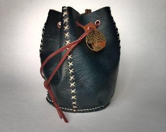 Handmade leather Pouch / Dice bag in Blue with small tree of life charm