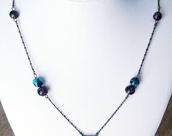 Necklace NOVEL' black base and multi-color ART