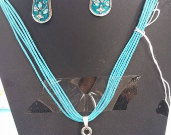 teal necklace and earrings set