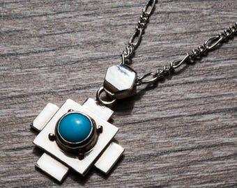 Chakana Cross - Inca Jewellery - Small Cross Necklace - Silver Turquiose Cross - Sterling Silver Cross Pendant - Stepped Pyramid - Peruvian