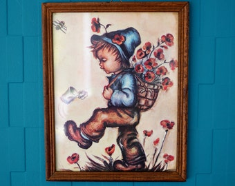 Vintage 1960s Framed Child Picture - Boy picking poppies and kicking can with bumble bee - Very kitsch - Retro