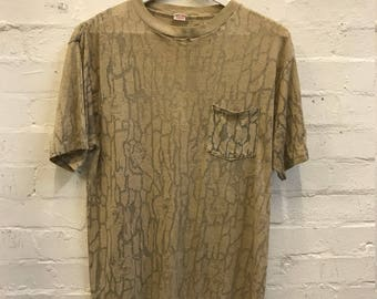 80's Distressed Vintage JOE CAMEL Cigarettes Camo Print Tee Destroyed T-shirt