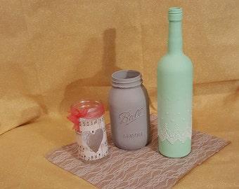 Ball Jars and Wine Bottle Centerpiece