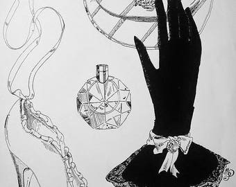 Drawing / drawwing ink / pen. feminine boudoir: glove, shoe, perfume, purse.