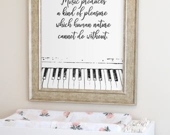 Quote about Music, Gift for Musician, Music wall art, Gift for music lover, Music art print, Musician print, Piano Print, Instant Download