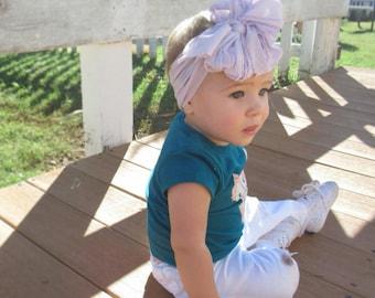 Lilac Purple Ruffle Messy Bow Headband