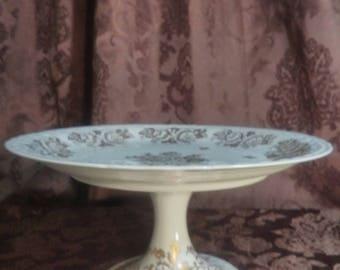 Vintage hand painted porcelain de France cake stand/serving platter