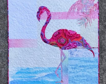 Fiona / Flamingo / Quilted Wall Hanging / Pattern / #usebothsides / Quilt Patterns / Coastal Decor/ Fusible Applique / Scrappy Background
