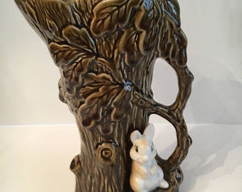 "Vintage SylvaC Brown Ceramic 9"" Woodland Tree & Rabbit Vase #4242"