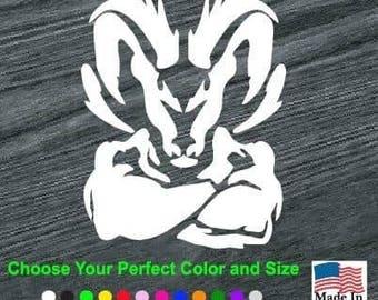 Dodge Ram Head Muscle Vinyl Window Decal Sticker