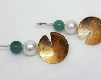 Great earrings silver Part gilded with Shell core pearl nd amazonite