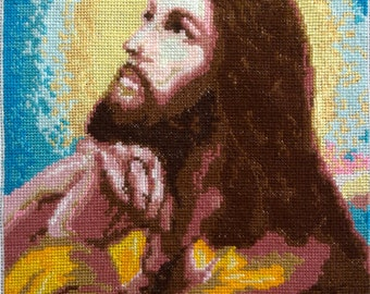 The cross stitch picture with beaded needlework ICON Of The SAVIOR Wall Decor Home decor Finished Cross Stitch