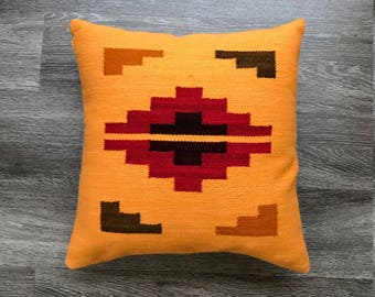 Hand woven pillow cover merino wool, 16x16, southwest style,peruvian pillow cover, boho geometric design, natural dyes, ethnic motifs