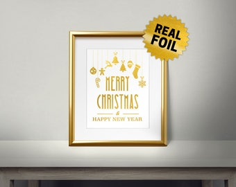 Christmas Ornamet, Merry Christmas, Real Gold Foil Print, Happy New Year, 2018, Gold Wall Art, Christmas Decor, Holiday Decoration,