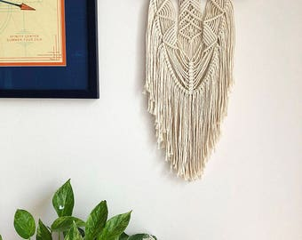 Macrame Wall Hanging on a Foraged Branch, Woven Wall Hanging, Boho Hippie Tapestry, Bohemian Decor