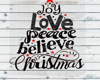 Christmas Tree, Joy Love Peace, Christmas Svg,Dxf,Png,Jpeg